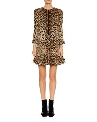Dolce And Gabbana 3 4 Sleeve Stretch Cady Cocktail Dress Leopard