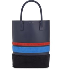 Mother Of Pearl Pently Leather Shopper Bag Navy Stripe
