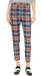House Of Holland Tartan Zip Trousers Navy