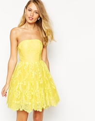 Ginger Fizz Florentine Lace Bandeau Prom Dress Yellow