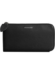 Burberry Two Tone Leather Ziparound Wallet And Coin Case Black