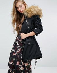 Miss Selfridge Leather Look Detail Parka With Faux Fur Black