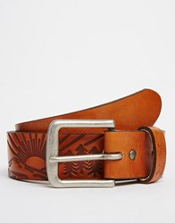 Levi's Leather Belt With Embossed Detail Tan