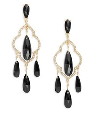 Kate Spade Lantern Gems Quatrefoil Crystal Chandelier Earrings Black