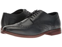 Rockport Style Purpose Wingtip Navy Leather Men's Lace Up Wing Tip Shoes Blue