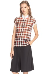 Foundrae Tulle Collar Plaid Blouse Red Cream