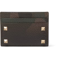 Valentino Rockstud Camouflage Print Full Grain Leather Cardholder Green