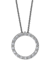 B. Brilliant Sterling Silver Necklace Cubic Zirconia Open Circle Pendant 1 3 Ct. T.W.