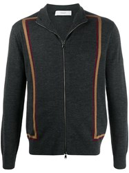Pringle Of Scotland Striped Knitted Zip Up Jacket 60