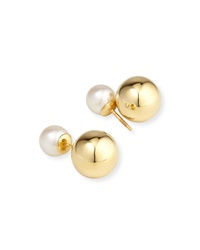 Double Akoya Pearl And Yellow Gold Stud Earrings Yoko London