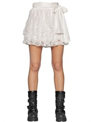 Faith Connexion Techno Lace And Silk Satin Mini Skirt