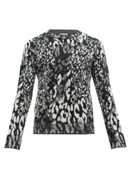 Saint Laurent Leopard Jacquard Wool Blend Sweater Black Grey