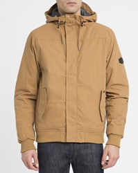 Rvca Camel Humble Ribbed Hooded Jacket
