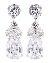 Fantasia Pear And Round Cut Cz Cluster Earrings