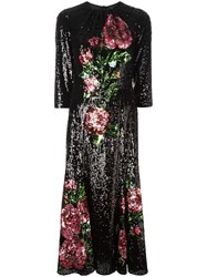Dolce And Gabbana Rose Embroidered Sequin Dress Black
