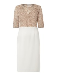 Shubette Crepe Two Tone Lace Bodice Dress And Jacket Beige