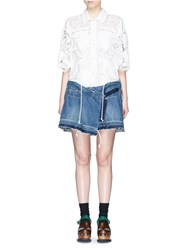 Sacai Embroidered Patch Guipure Lace Denim Wrap Dress White