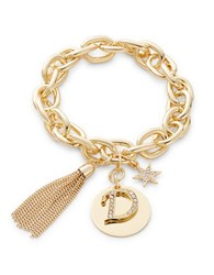 Rj Graziano D Initial Chain Link Charm Bracelet Gold