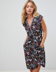 Trollied Dolly Crossover Dress In Floral Print Navy Blue