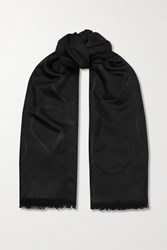 Valentino Garavani Silk And Wool Blend Jacquard Scarf Black