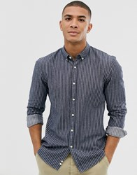 Tom Tailor Stripe Shirt With Button Down Collar In Blue