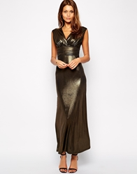 John Zack Plunge Neck Maxi Dress In Matte Slinky Fabric Goldmetallic