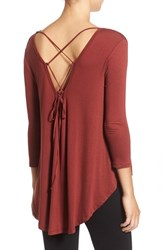 Lush Women's Lace Up Back Tee Madder Brown