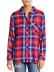 Rails Hunter Plaid Blouse Cobalt Red