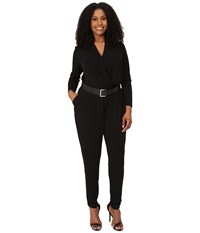 Michael Michael Kors Plus Size Belted Jumpsuit Black Silver Women's Jumpsuit And Rompers One Piece