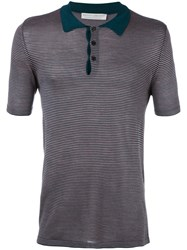 Gieves And Hawkes Striped Polo Shirt Men Silk Xxl Brown