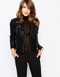 French Connection Generation Biker Jacket In Faux Leather Black
