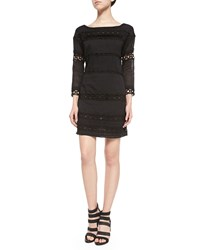 Pam And Gela 3 4 Sleeve Dress W Netted Lace Bands Black