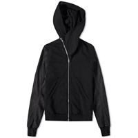 Rick Owens Drkshdw Leather Sleeve Mountain Hoody Black