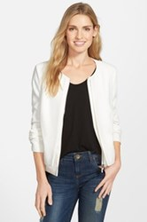 Gibson Collarless Layered Front Jacket White