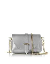 Le Parmentier Metallic Leather Mini Shoulder Bag Silver