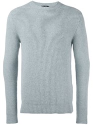 A.P.C. Ribbed Crew Neck Pullover Blue