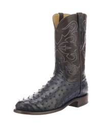 Lucchese Hudson Full Quill Boots Navy