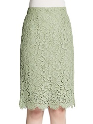 Dolce And Gabbana Scalloped Lace Pencil Skirt Mint