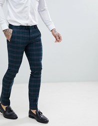 Noose And Monkey Super Skinny Suit Pants In Plaid Check Green
