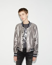 R 13 Shrunken Metallic Roadie Jacket Silver
