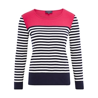 Viyella Petite Colour Block Stripe Top Geranium