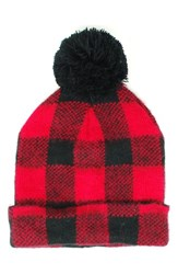 Michael Stars Women's Buffalo Check Beanie Red