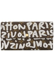 Louis Vuitton Vintage Porte Monnaie Graffiti Monogram Wallet Brown