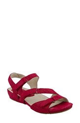 Earthiesr Women's Earthies Nova Strappy Sandal Bright Red Printed Suede