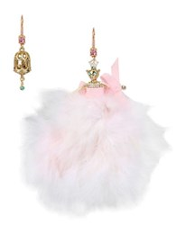 Betsey Johnson Crystal Mouse Ballerina And Birdcage Mismatch Earrings Pink
