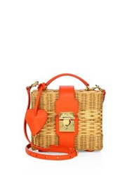 Mark Cross Harley Rattan And Leather Convertible Clutch Natural Orange