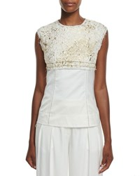 Dkny Sleeveless Foiled Lace Paneled Top Gesso Gold Gess0 Ivory Gold