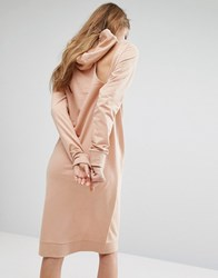 Noisy May Long Line Sweater Dress With Hood Maple Sugar Pink
