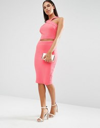 Ax Paris Ribbed Pencil Skirt Coral Pink