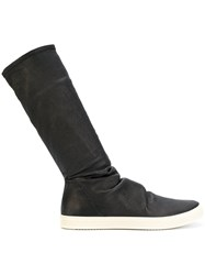 Rick Owens Sock Sneak Boots Men Leather Rubber 42 Black